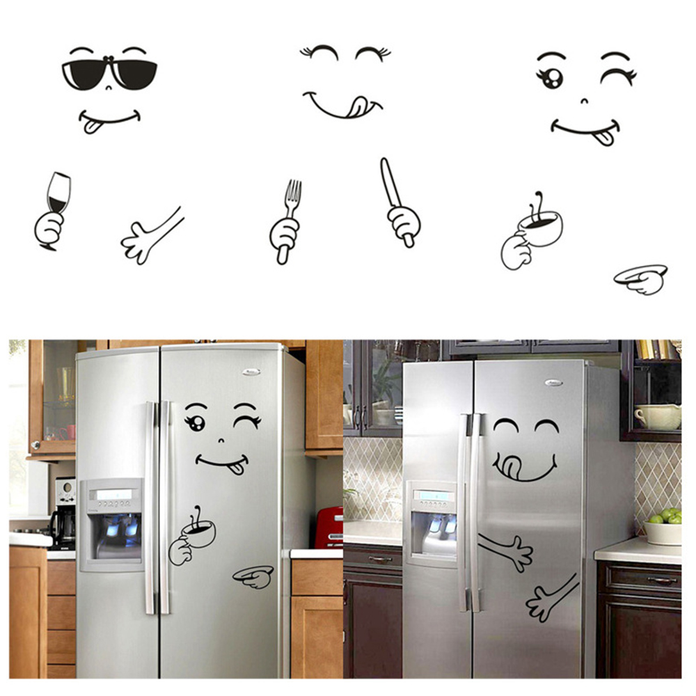 Sticker Fridge Refrigerator Face Kitchen Home-Decortion Cute Wall Delicious Art Happy title=