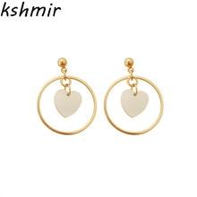 Contracted temperament acetate love circular eardrop fashion stud earrings girl joker tide in female