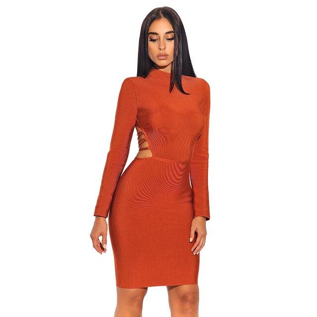 8ce2b2f180a1 Free Shipping Sexy Backless Full Sleeve Bandage Dress Sheath Zipper Mini  Dresses Celebrity Party Club Elegance Vestido Coral
