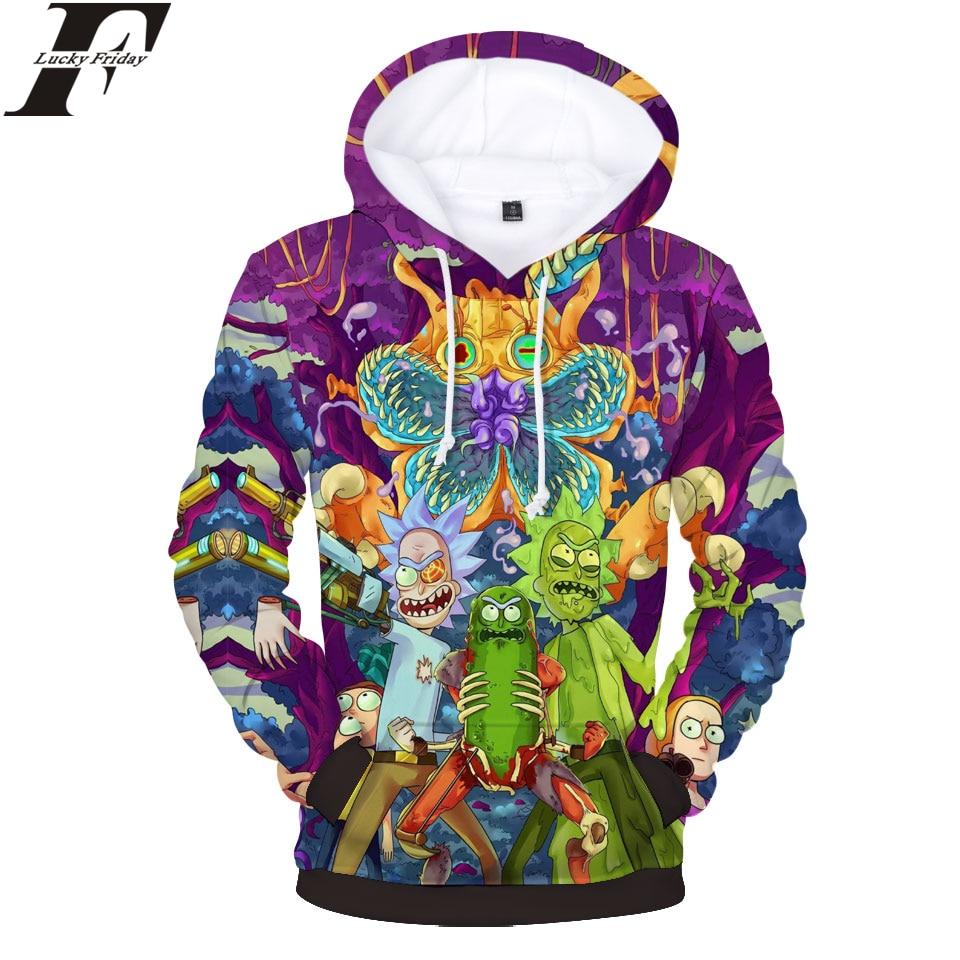 LUCKYFRIDAYF Rick Et Morty Hoodies 3D Impression Femmes/Hommes Pulls Molletonnés Anime Style Hommes/Femmes Hoodies Sweat Casual Vêtements 4XL
