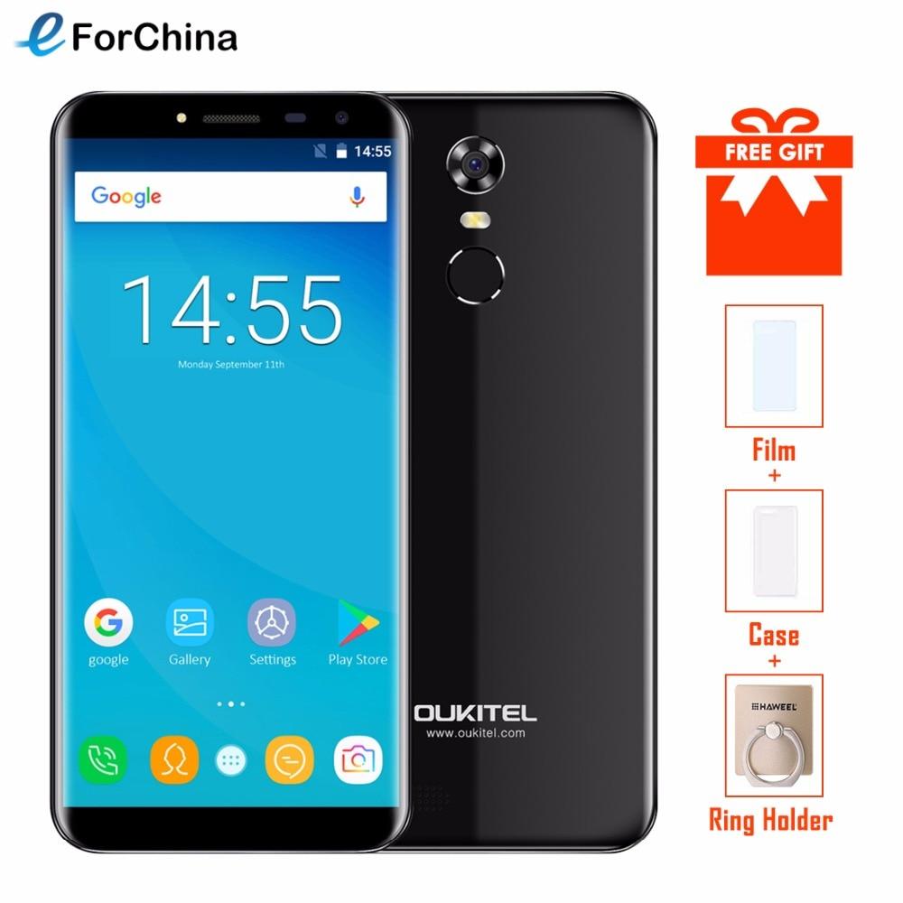 Oukitel C8 5.5 Pouces 18:9 Infinity Affichage Smartphone Android 7.0 3000 mAh 2 GB RAM 16 GB MT6580 Quad Core d'empreintes digitales 13MP Téléphone Portable