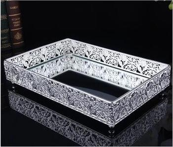 Serving Tray Stand | 30*20cm Rectangle Metal Silver Decorative Serving Trays Silver Trays Glass Mirror Tray For Home Decoration FT035