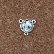 30pcs/ lots Antique Silver Saint Benedict Medal Cross Triangular 3-Strand Charm Spacer End Connector 16x16mm DIY Accessories