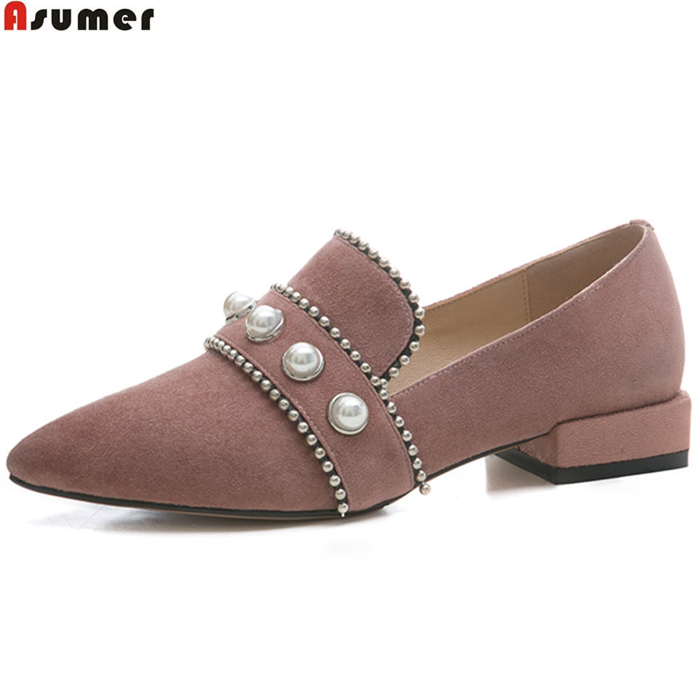 ASUMER black gray fashion spring autumn ladies single shoes square heel pointed toe shallow casual women suede leather shoes asumer black gray beige fashion spring autumn shoes woman round toe shallow casual square heel shallow flock low heels shoes