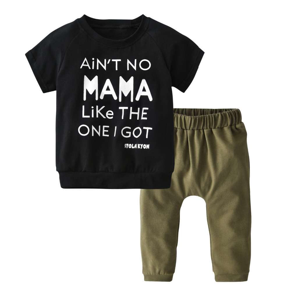 dd3e081fb94 Newborn Infant Clothing Set Summer Baby Boys Girls Clothes Short Sleeve  Letter MAMA T-shirt Tops+Pants 2Pcs Toddler Outfits Suit