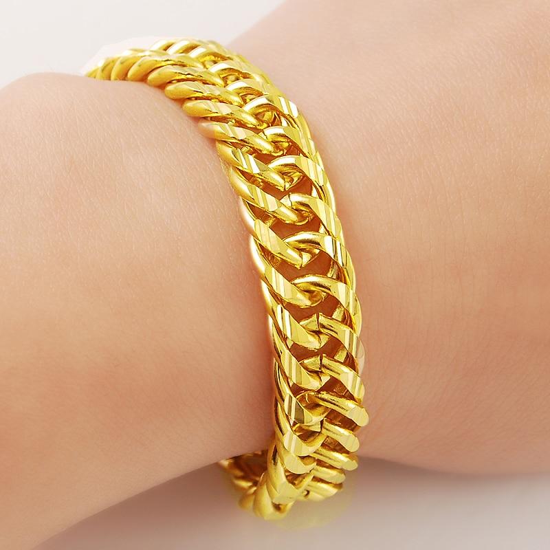 Gift Bag 18k Dubai Real Gold Cuban Link Bracelet for Men Solid Plated Chain