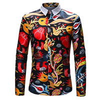 2018 Printed Shirt 2018 Brand New Long Sleeve Men's Fancy Shirts Slim Fit Young Boy Spring Autumn Flower Holiday Shirt