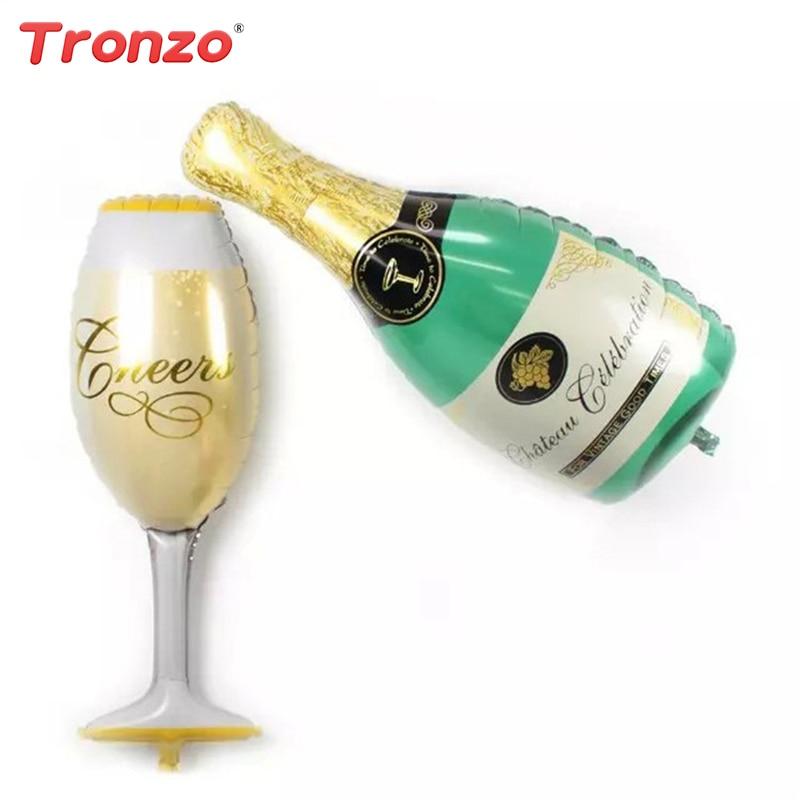 Tronzo 2Pcs Champagne Cheers Glass Wedding Balloons Decoration Aluminum Helium Balloon Birthday Baby Shower Party Supplies