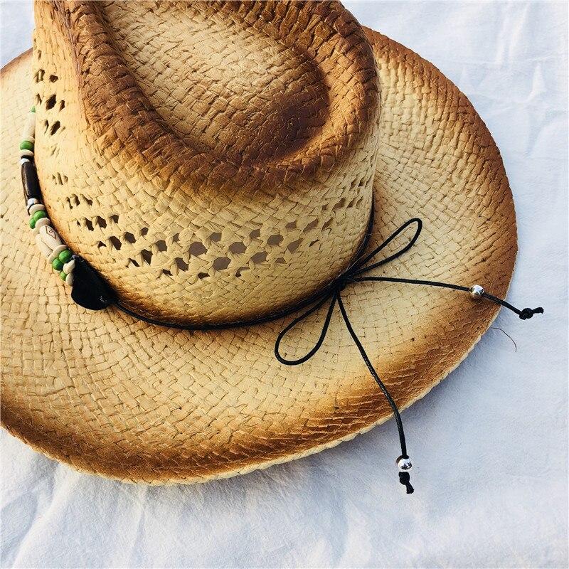 Verão Clássico Ocidental Sentiu Cowboy Chapéu de Palha para Mulheres Dos Homens  Praia Sunhats Cap Partido Unisex Oco Frisado Ocidentais Chapéus Presente em  ... f3b3942f8ff