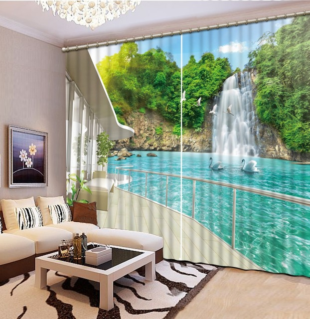 2016 Fashion 3D Home Decor Beautiful 3D Window Curtains For Bedding Room  Sea View Balcony Curtains Part 86
