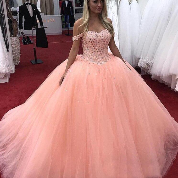 2019 Hot Debutante cristal Quinceanera robes robe de bal hors épaule Tulle bal seize 15 doux 16 robe vestidos de 15