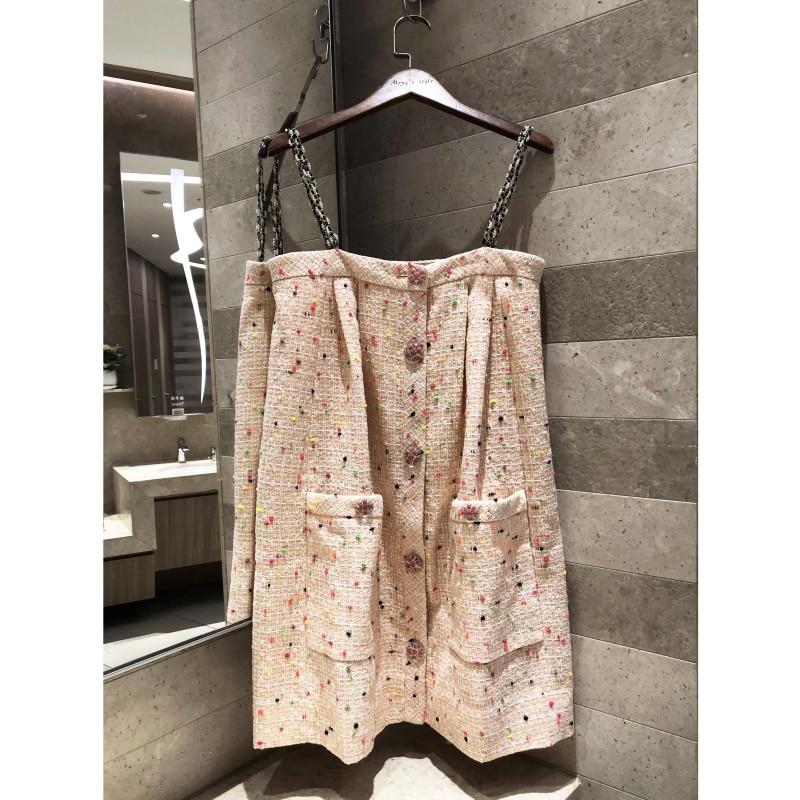 2019 high end women s orange pink tweed woven suspender dress Mini dress silk lining Complimentary