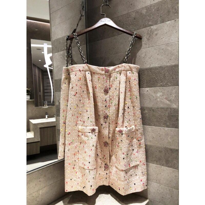 2019 high end delle donne di orange rosa tweed tessuto bretella del vestito mini Vestito di seta fodera in Omaggio Pulsanti pin-in Abiti da Abbigliamento da donna su  Gruppo 1