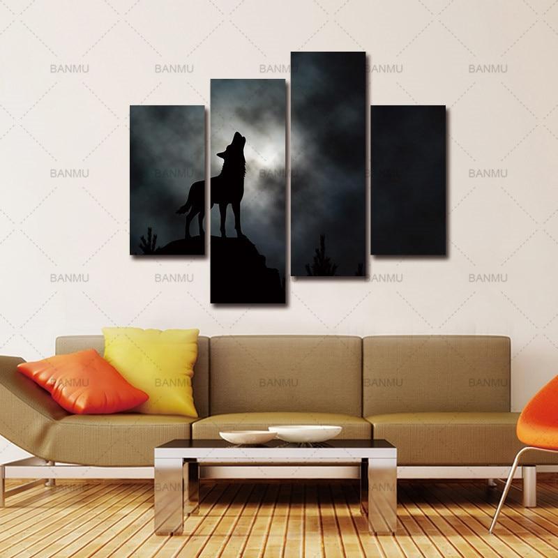 ᗕ4 Панель стены Книги по искусству вой волка с Лунная облака Задний ... ff0a5d24e6d