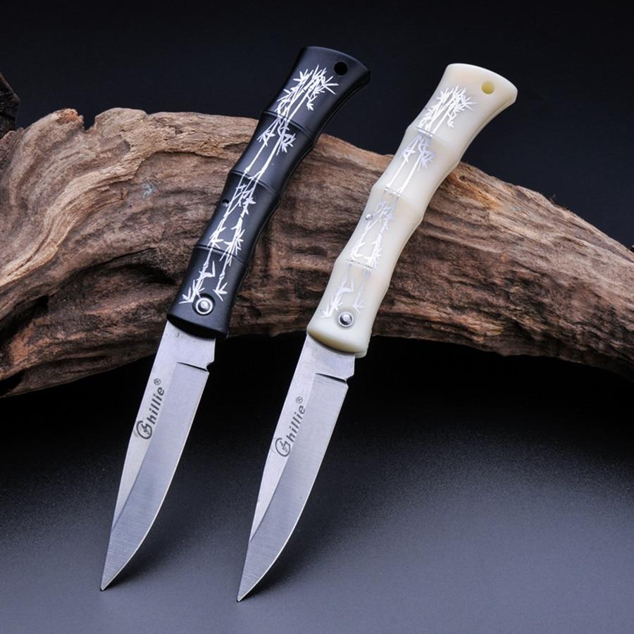 Katlanır Meyve Bıçağı 80mm Blade 1.8mm kalın Bambu Desenler Kolu Açık Kamp Yürüyüş Aracı JKnife Survival Avcılık Bıçak