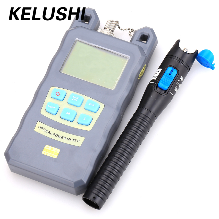 KELUSHI 2 In 1 FTTH Fiber Optic Tool Kit Optical Power Meter -70dBm~+10 dBm Cable Tester 1mW 5KM Plastic Visual Fault Locator