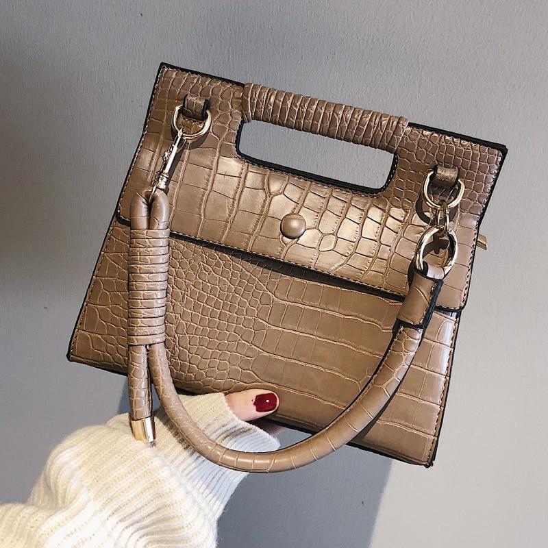 European Fashion Lady Tote bag 2019 New Quality PU Leather Womens Designer Handbag Crocodile pattern Shoulder Messenger Bag