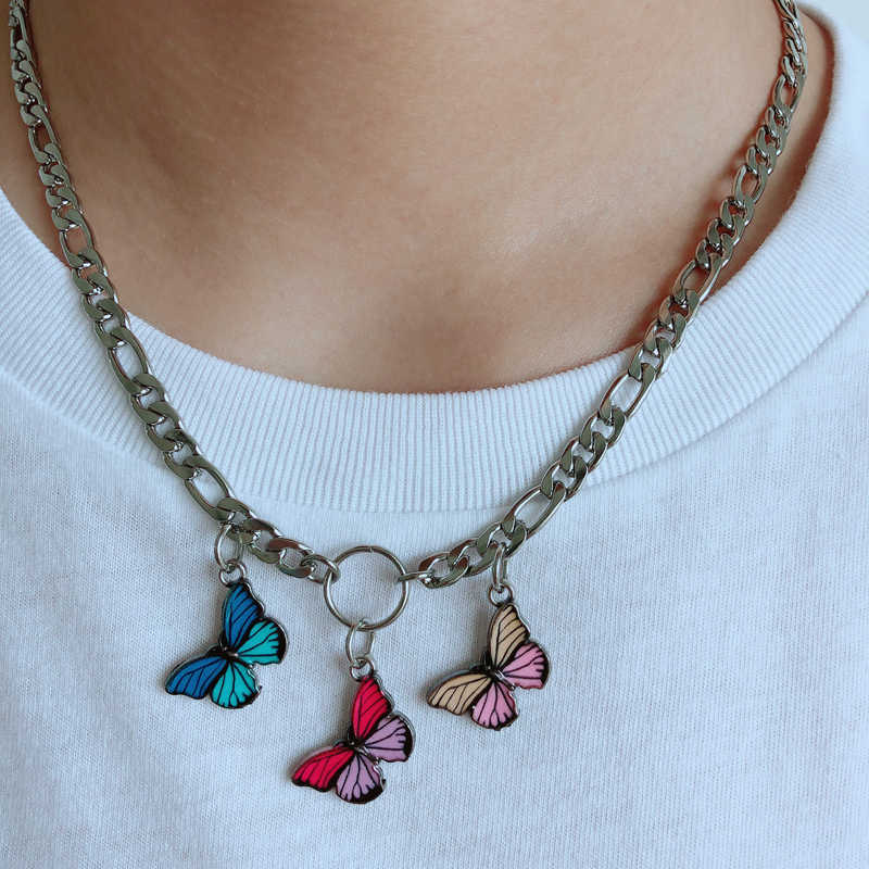 Cute Kawaii Butterfly Choker Necklace Women Harajuku Style Stainless Steel Collares Punk Hip Hop Gothic Necklace Pendants