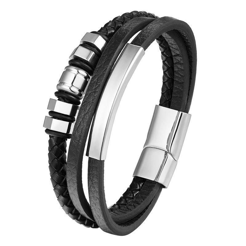 Stylish Stainless Steel Bracelet & Bangle silvery Bracelet Genuine Leather Bracelet Man Vintage Jewelry 2018 Hot Sale stylish golden hollow rounded rectangle hasp bracelet for women