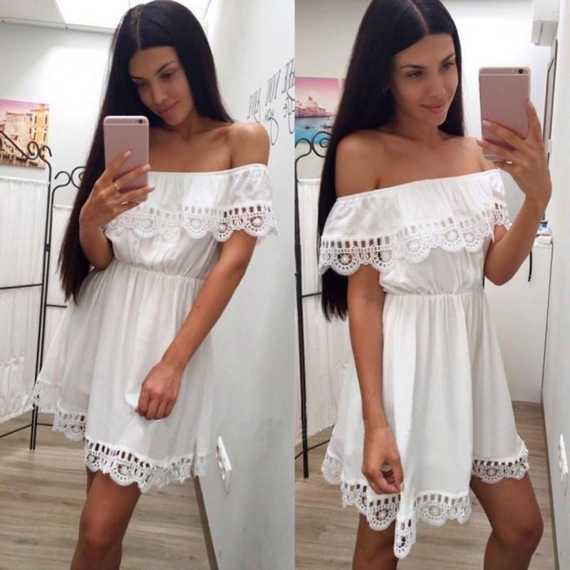 Fashion Women Elegant Vintage sweet lace white Dress Stylish Sexy Slash Neck Casual Slim Beach Summer Sundress Female vestidos(China)