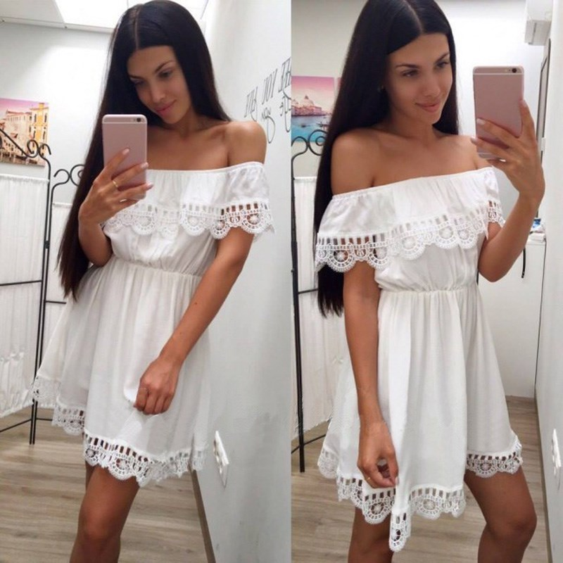 Fashion Women Elegant Vintage Sweet Lace White Dress Stylish Sexy Slash Neck Casual Slim Beach Summer Sundress Female Vestidos
