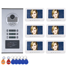 Видеодомофон, 3/4/5/6 квартиры/семья, дверной звонок, система внутренней связи, RFID, HD, 1000TVL камера, с 6 кнопками, 3/4/5/6 монитор