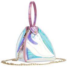 8aff90737323 AUAU Для женщин модные прозрачные ПВХ голограмма треугольная Сумочка  лазерной Сумки Сеть мини Повседневное кошелек сумка