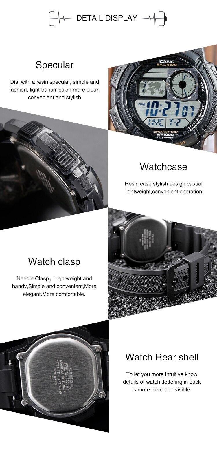Casio Watch Analogue Mens Quartz Sports Resin Strap Student Original Ae 1000w 1avdf Xlmodel Photo 0000