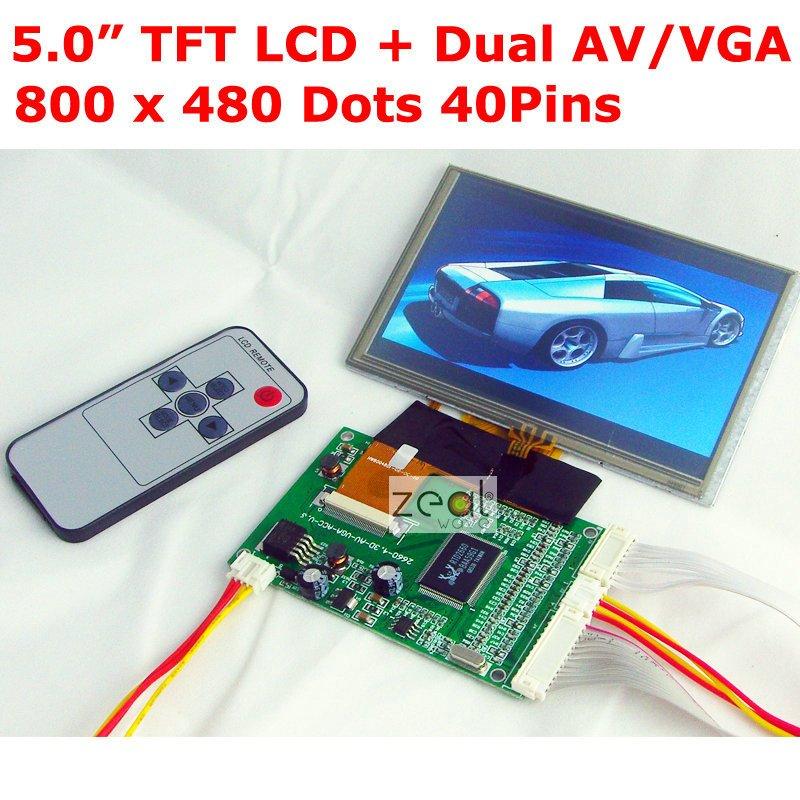 5.0 TFT LCD Module + Touch Panel + VGA / Dual AV  Input Driving Board 800 x 480 Dots 40Pins цена 2016