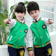 a0074384d4a4b Verde adultos uniformes de escuela primaria Tops + Pants niños adolescentes  ropa deportiva traje niños niñas trajes de chándal d.