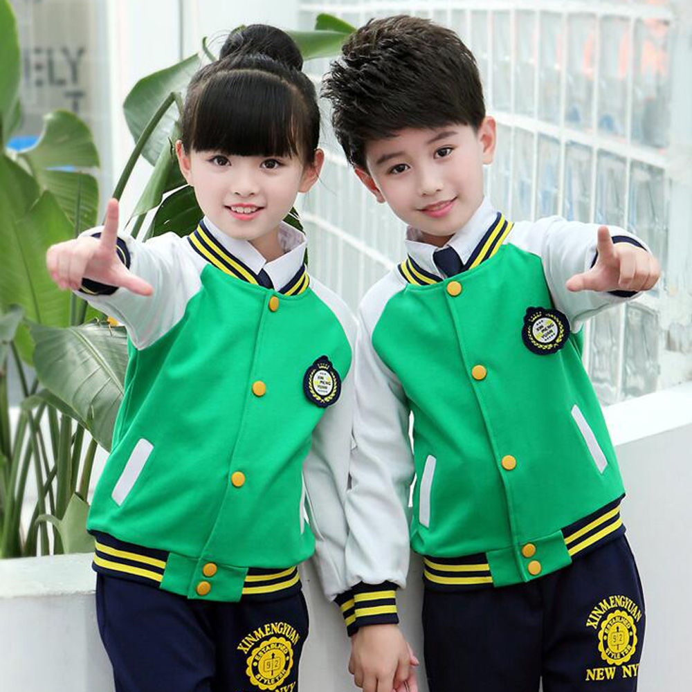 Vert adultes uniformes d'école primaire hauts + pantalons adolescents enfants vêtements costume de sport costume garçons filles baseball survêtement tenues