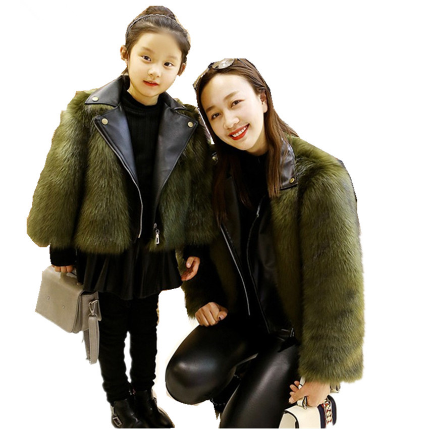Family Matching Clothing Mommy And Me Clothes Children Winter Faux Fur Coat Fashion Oversize Adult Kids Outerwear Leather Jacket