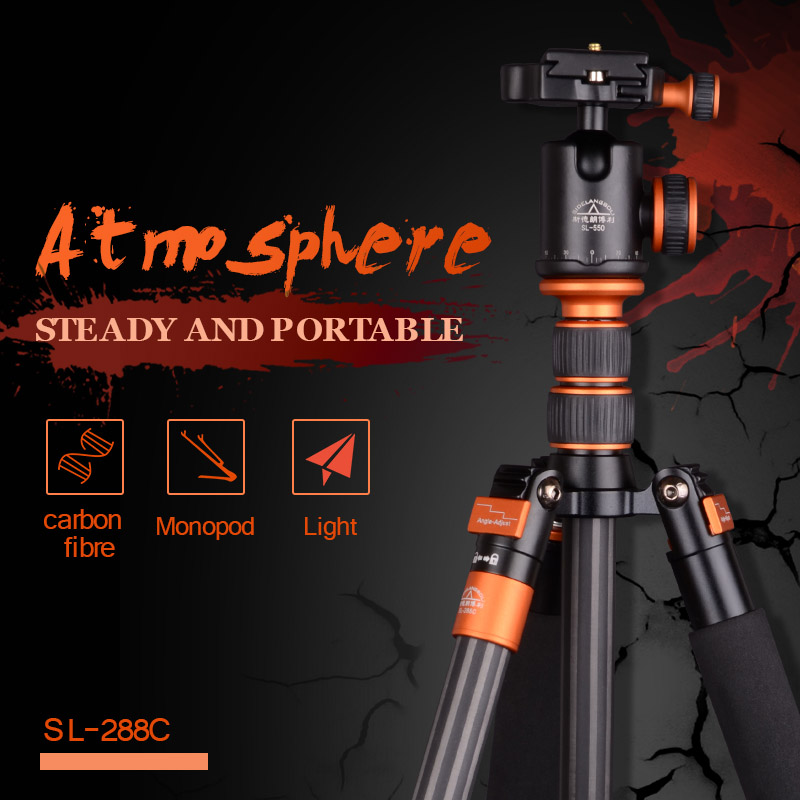 SIDELANGBOLI Professional SL288C Carbon Fiber Travel Tripod Camera Monopod with Ballhead Stand For Canon Nikon DSLR DSLR aluminium alloy professional camera tripod flexible dslr video monopod for photography with head suitable for 65mm bowl size