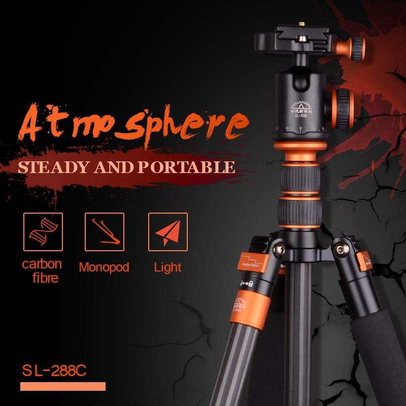 SIDELANGBOLI Professional SL288C Carbon Fiber Travel Tripod Camera Monopod with Ballhead Stand For Canon Nikon DSLR DSLR