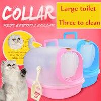 Закрытые домашние кошки лотки песочница Пластик Большой Pet туалет закрытой кошек Помет Box Туалет Обучение Caja Arena домашних животных 90Z2036