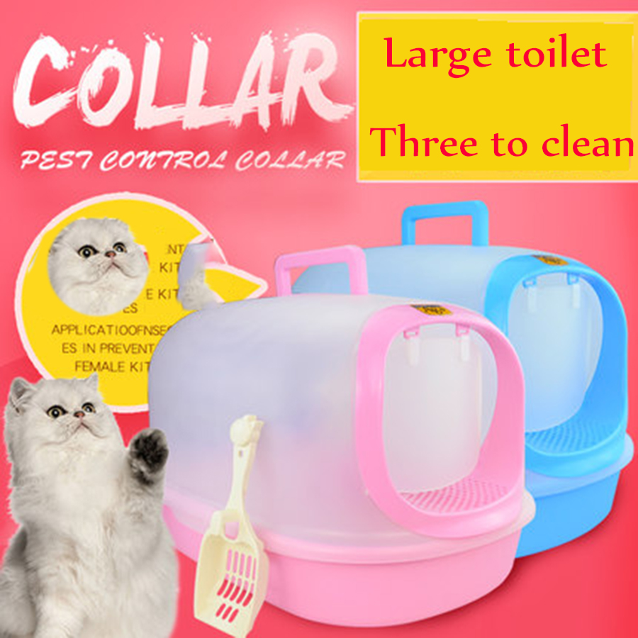 Enclosed Pets Cat Trays Sand Box Plastic Large Pet Toilet Closed Cats Litter Box Toilet training Caja Arena Pet Supplies 90Z2036