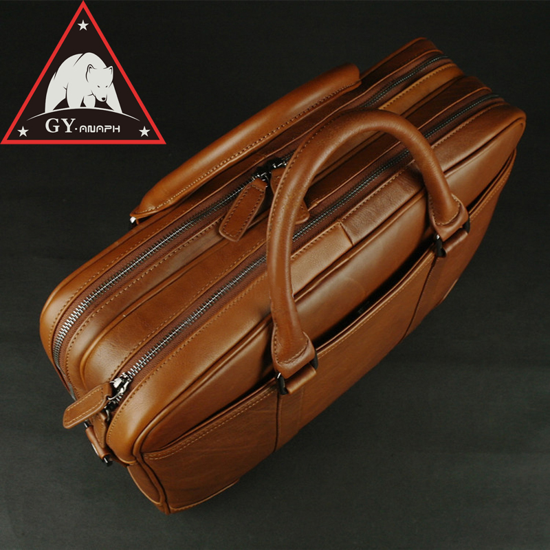 ANAPH 15 Inch Laptop Briefcase Men Office Work Bags Brown Real Cow Leather Top Quality Tote Bag Man Double Zippers Open anaph 15 inch laptop briefcase men office work bags brown real cow leather top quality tote bag man double zippers open