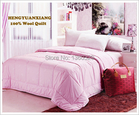 220 240cm 100 Wool Winter Blanket Plus Size Quilt Pink Colcha Double Quilted Comforter Patchwork Bedspread