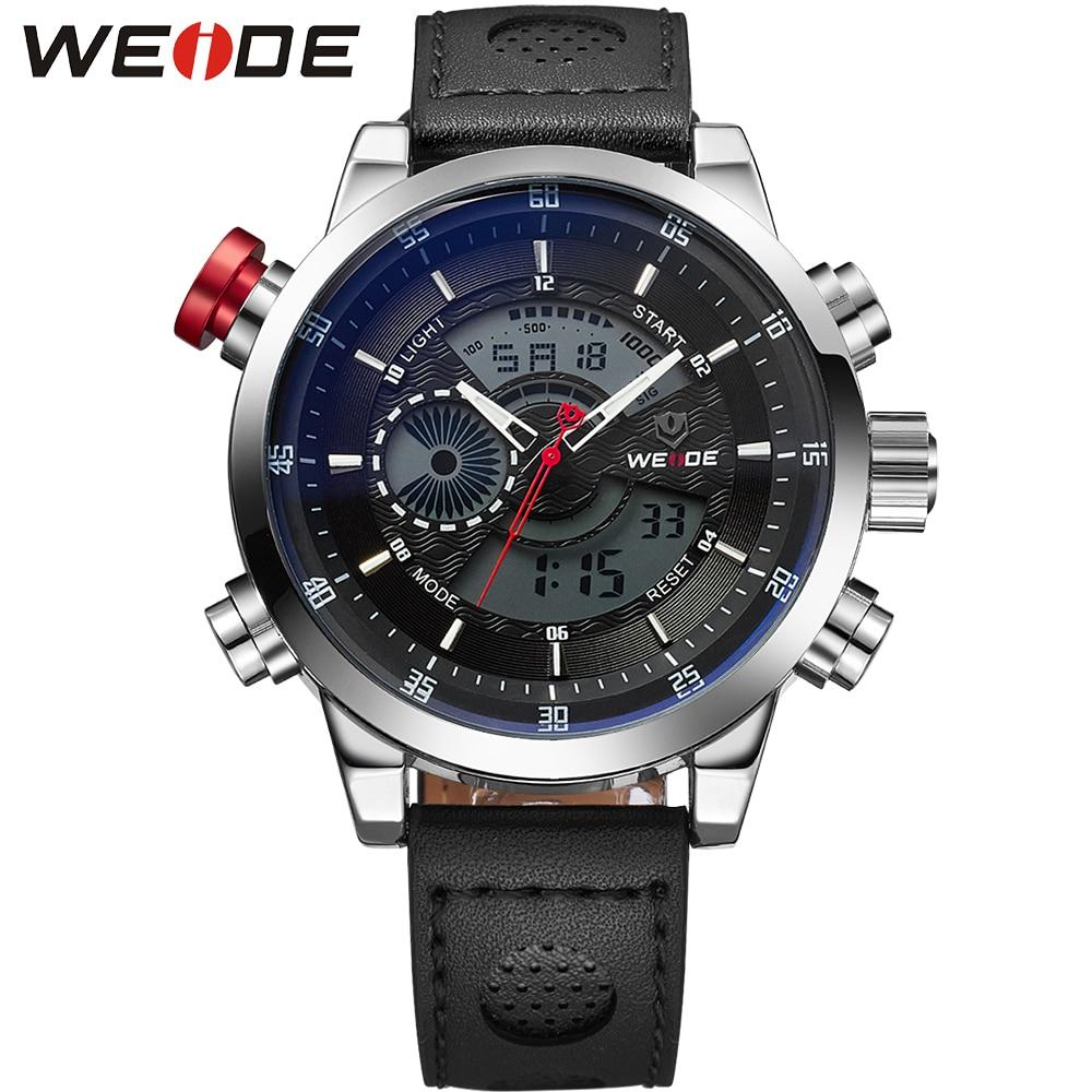 WEIDE Luxury Brand Genuine Leather Watches Men Quartz Dual Movement Analog Digital Date Alarm Stopwatch Display Waterproof Watch