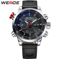 WEIDE Luxury Brand Genuine Leather Watches Men Quartz Dual Movement Analog Digital Date Alarm Stopwatch Display Waterproof Watch