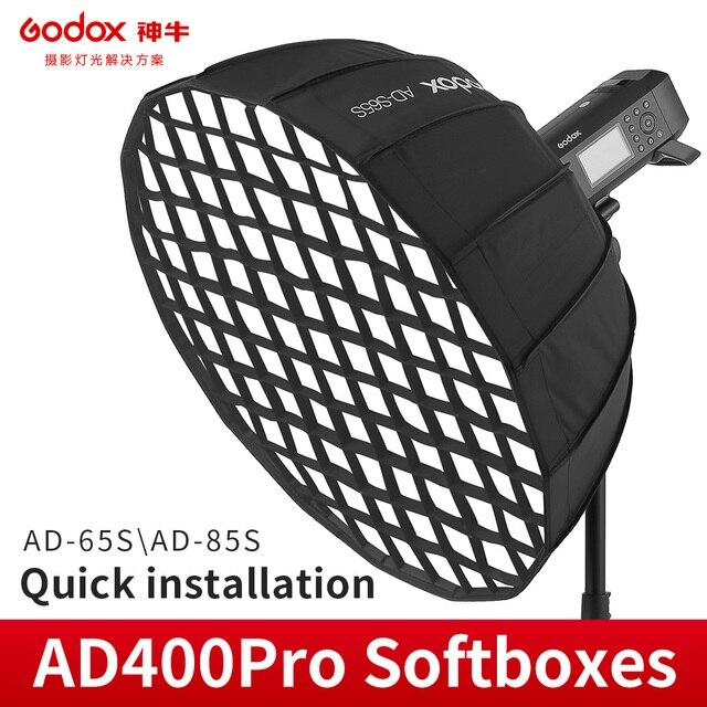 Godox AD S65S AD S65W 65CM AD S85S AD S85W 85cm כסף עמוק Parabolic Softbox + כוורת רשת Godox הר Softbox עבור AD400PRO