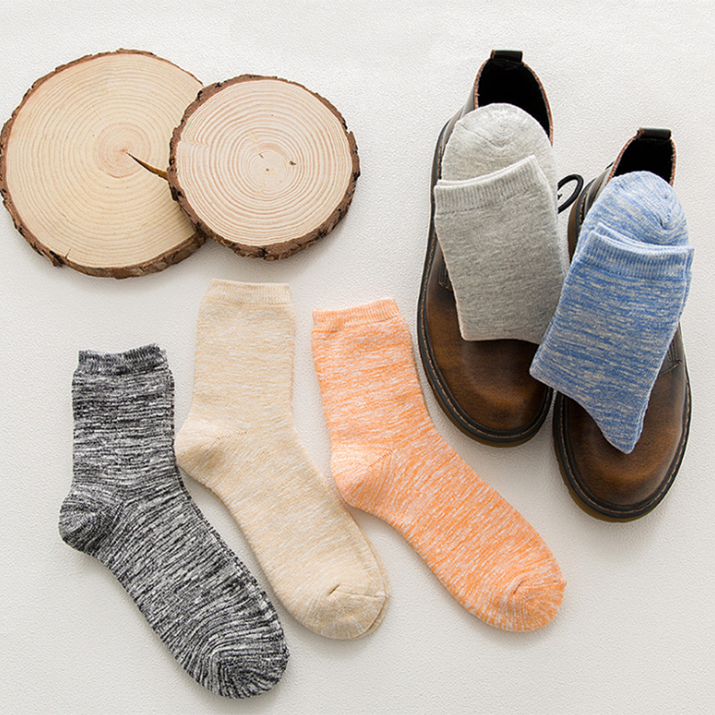 Winter men thick cotton socks Foot comfortable fashion new thick stripes simple slub yarn funny mens high-heeled casual socks