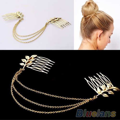 Hot Womens Personality Chic Gold Tone Leaf Hair Cuff Chain Comb Headband Hair Piece 77HB