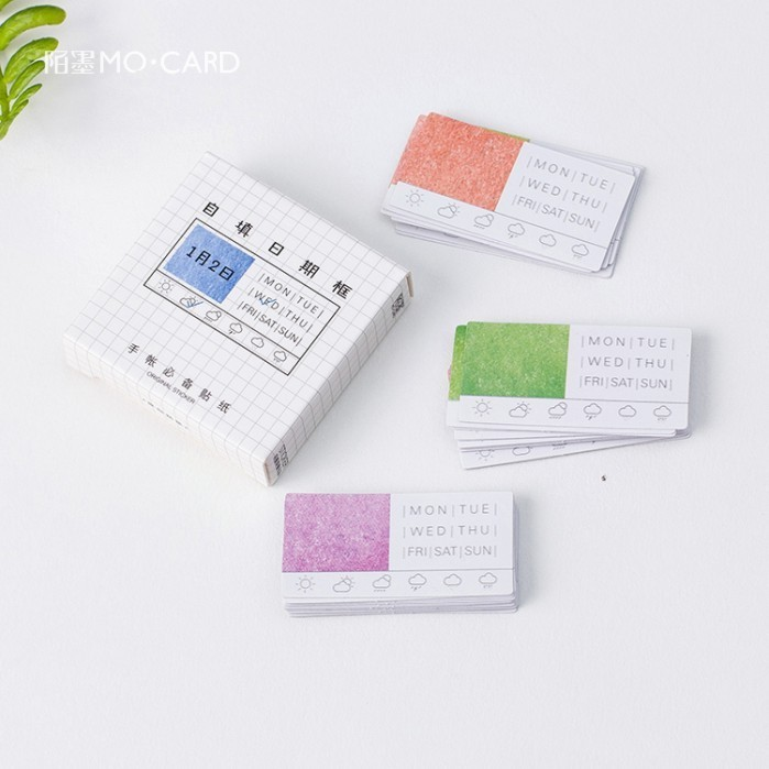 45PCS/box New Self-filling Date Box Diary Paper Lable Sealing Stickers Crafts Scrapbooking Decorative Lifelog DIY Stationery