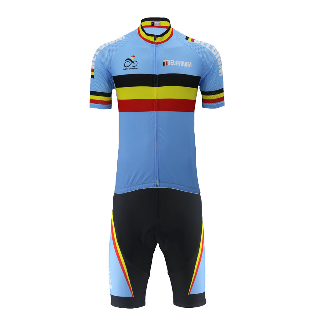 2018 Belgium cycling jersey set ropa Ciclismo bike wear jersey set men short  sleeve and black c3fe8accc