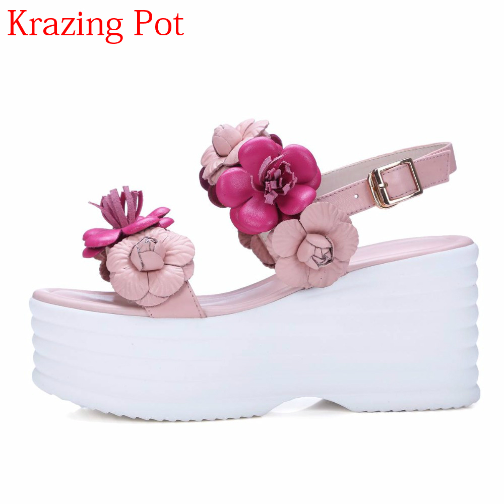 2017 Fashion Brand Summer Shoes Peep Toe Flower Platform Women Sandals Runway Mixed Colors High Heels Concise Causal Shoes L60 fashion peep toe and platform design sandals for women