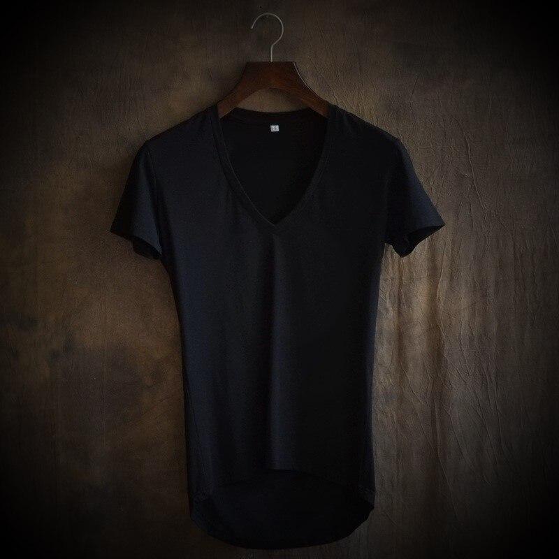 2018 Undertale Palace Qualität Freizeit Big V-ausschnitt Reine Farbe Code Unregelmäßige Kultivieren herren Kurzarm T-shirt