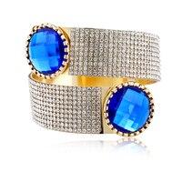 1PC European Jewelry Gold Plated Open Cuff Bangle Full Rhinestone Crystal Hand Wide Bangles Womens Bracelets