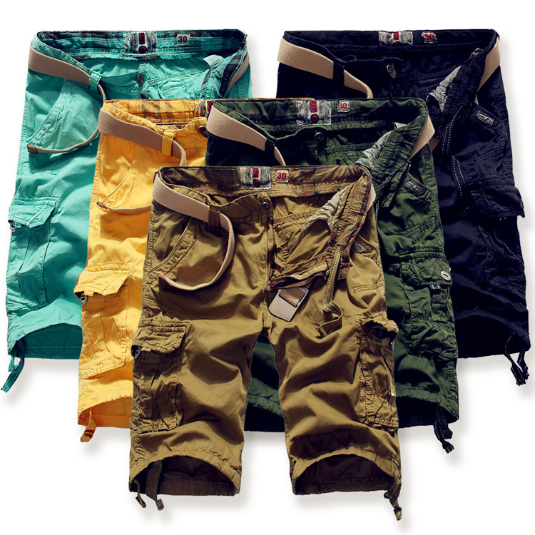2017 Shorts Man Brand Fashion Mens Bermuda 100% Cotton Cargo Short with Multi Pockets