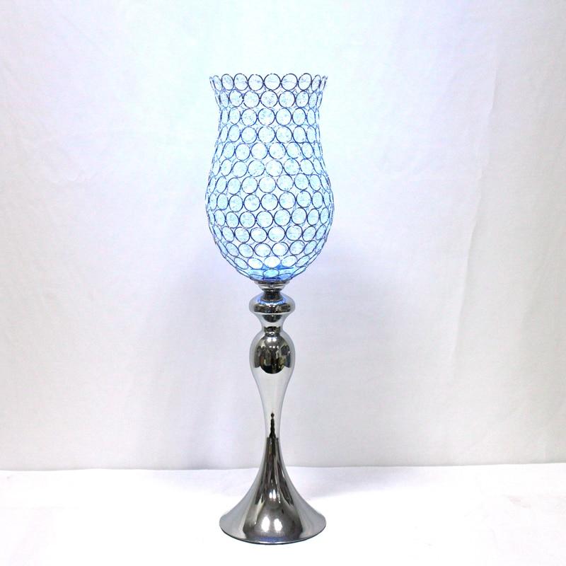 Kovové postříbřené svícny Křišťálové svícny Svatební dekorace Svícen Evropský styl H 28inc